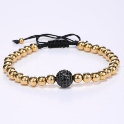 24K Gold Round Beads & 10mm Micro Pave Black CZ Beads