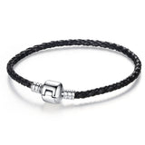 Authentic Unique Silver Plated Clasp Genuine Leather Bracelet - Rakupos