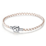 Authentic Unique Silver Plated Clasp Genuine Leather Bracelet