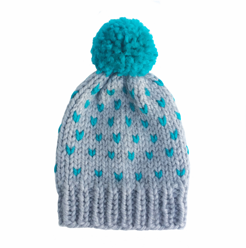 Grey with turquoise chevons woolly hat
