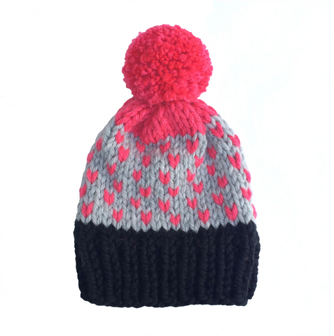 Black, pink and grey woolly hat
