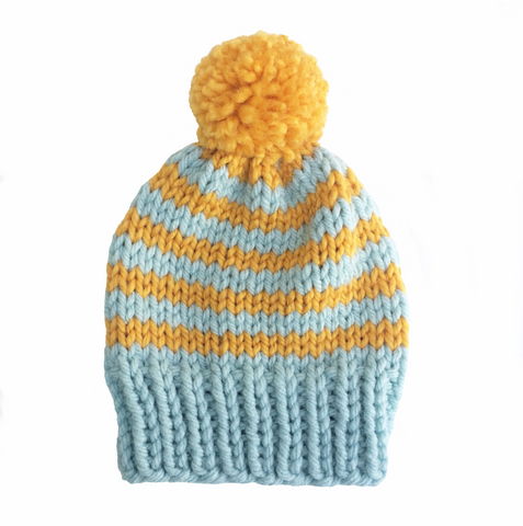Mustard and blue stripy woolly hat