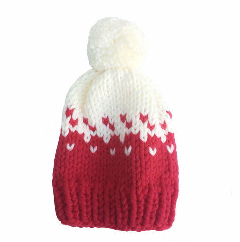 Red and white woolly hat