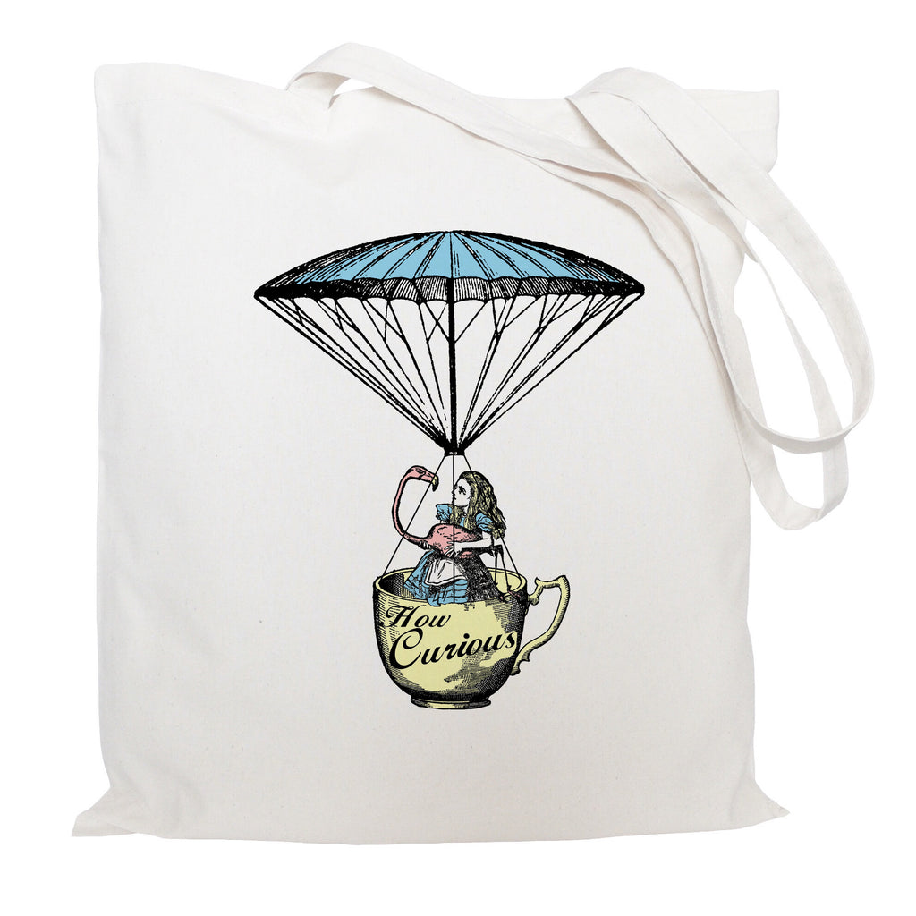 Alce in Wonderland with flamingo tote bag
