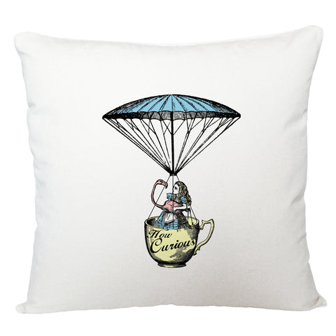 Alice in Wonderland cushion cover/ Alice and flamingo in a tea cup