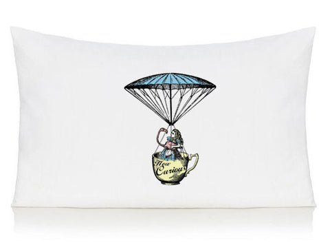 Alice in Wonderland and flamingo in a  tea cup pillow case