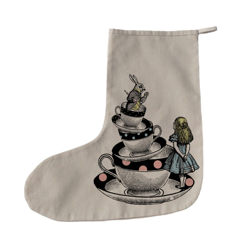 Copy of Alice in Wonderland teacups Christmas stocking