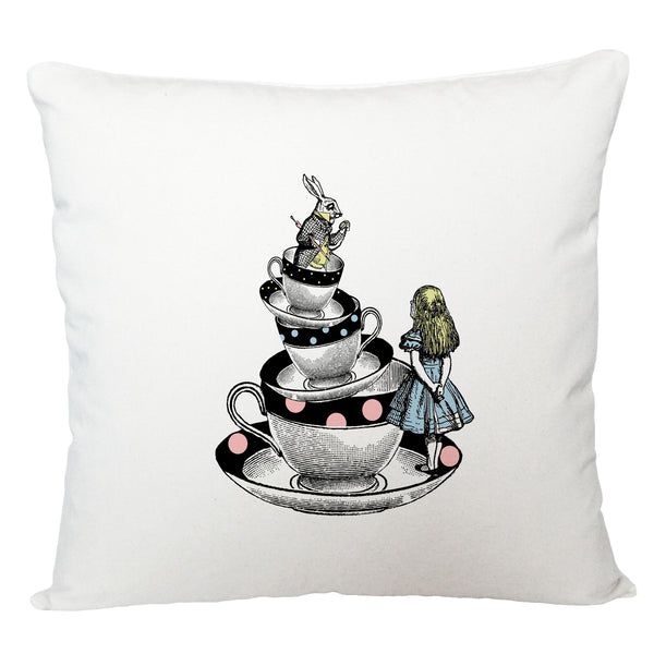 Alice in Wonderland cushion cover/ Alice and rabbit in tea cups