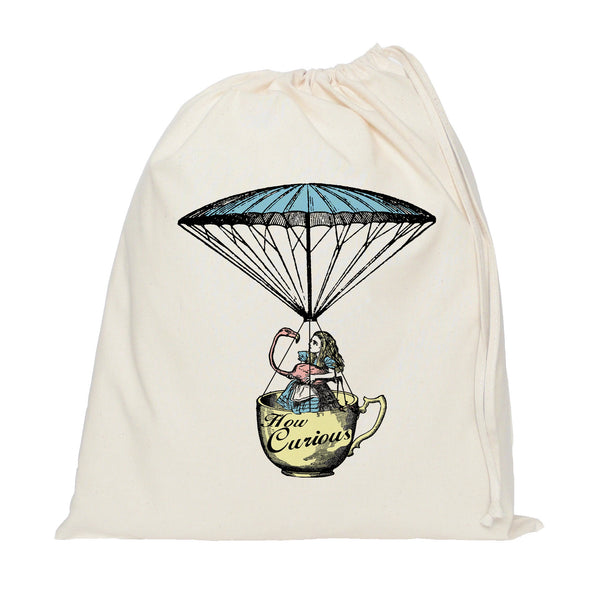 Alice in Wonderland and flamingo in a tea cup drawstring bag