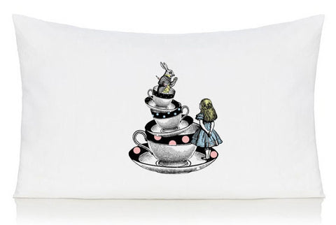 Alice in Wonderland and tea cups pillow case