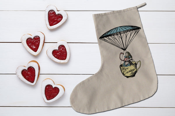 Alice and flamingo in tea cup Christmas stocking