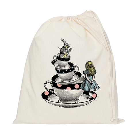 Alice in Wonderland on tea cups drawstring bag