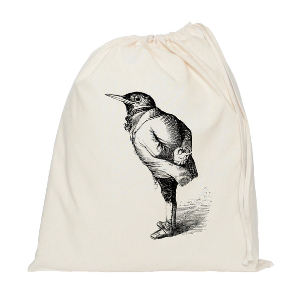 Bird in a suit drawstring bag