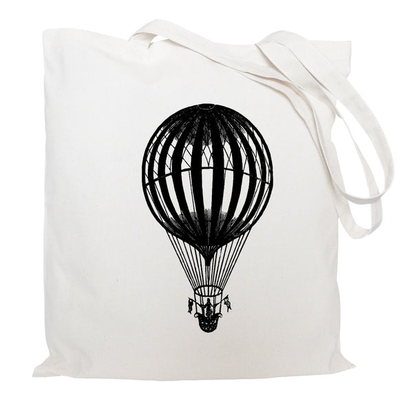 Hot air balloon with flags tote bag