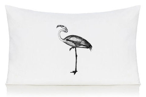 Black flamingo pillow case