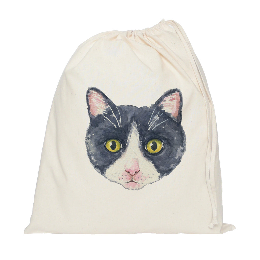 Black and white cat drawstring bag