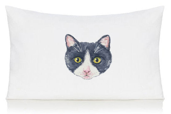 Black and white cat pillow case