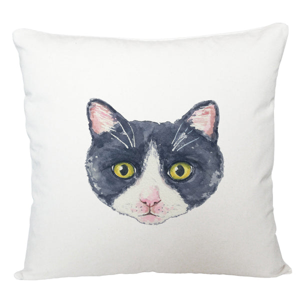 Black and white cat cushion cover
