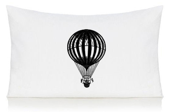 Hot air balloon with flags pillow case