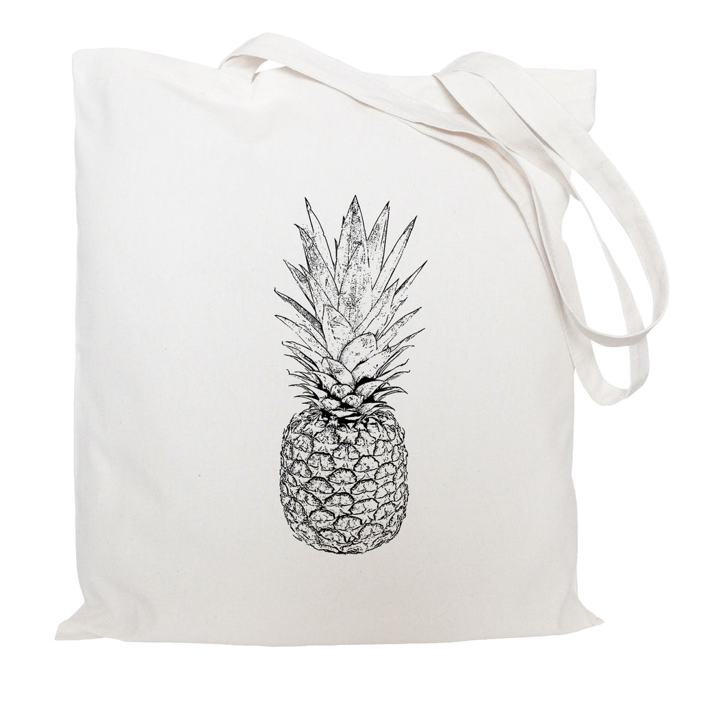 Black and white pineapple tote bag