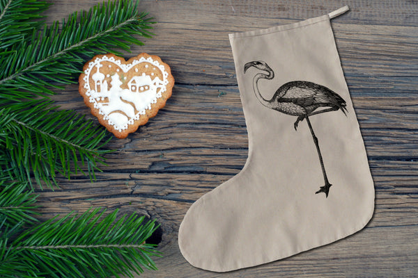 Black and white flamingo Christmas stocking