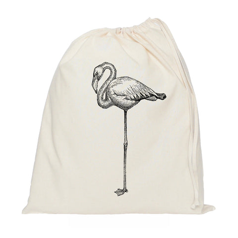 Black flamingo drawstring bag