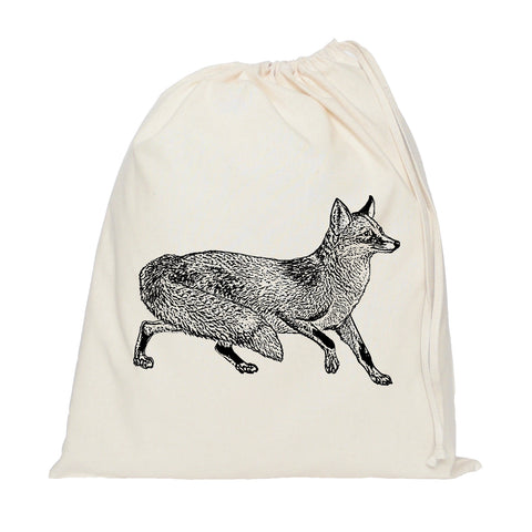 Black fox drawstring bag