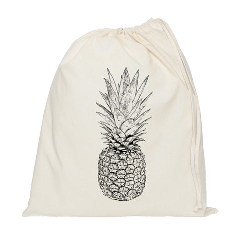 Black and white pineapple drawstring bag