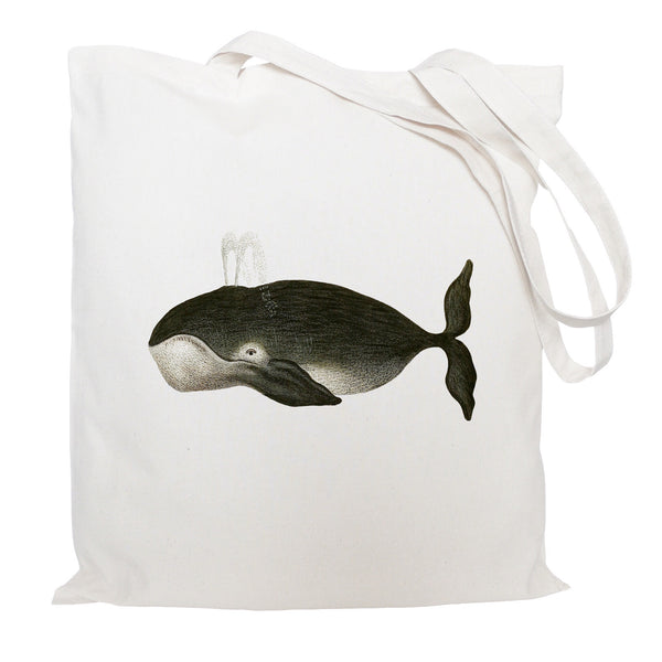 Black whale tote bag