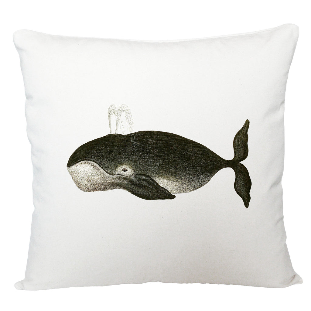 Black whale cushion cover