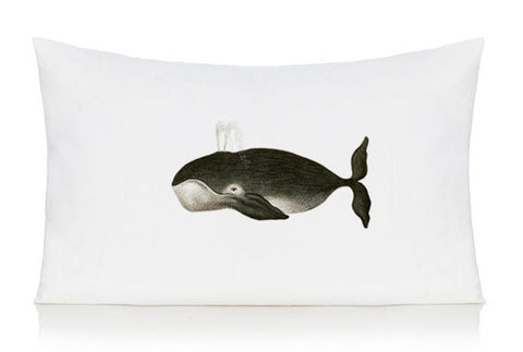 Black whale pillow case