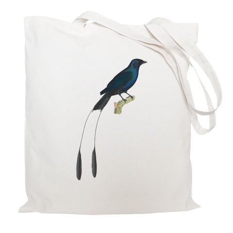 Tropical blue bird tote bag