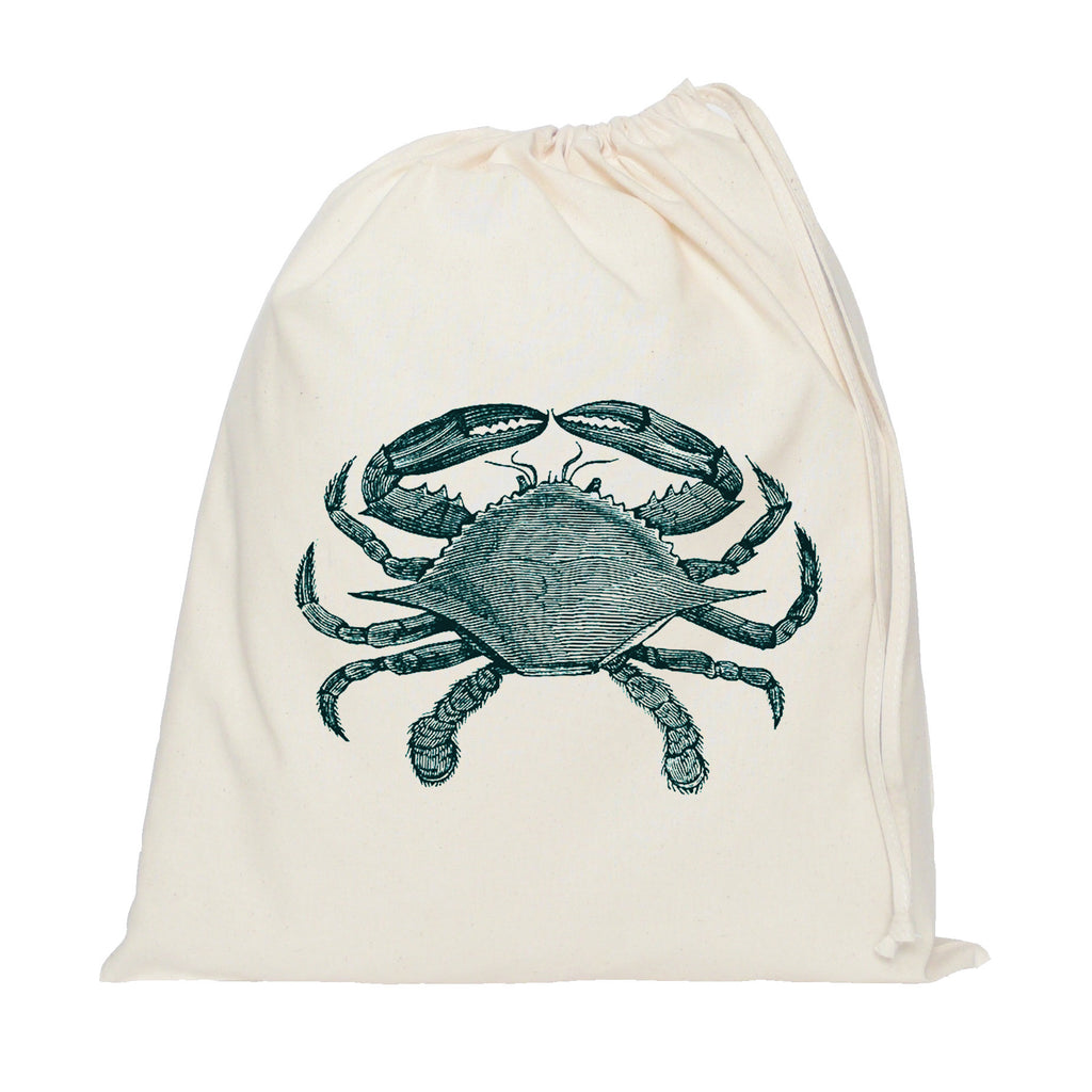 Blue crab drawstring bag
