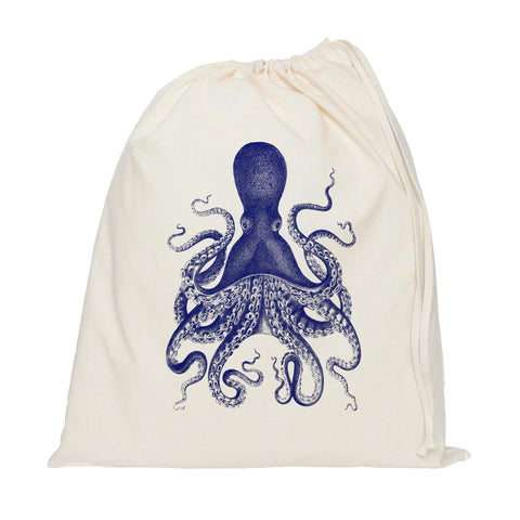 Blue octopus drawstring bag