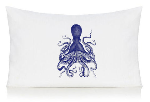 Blue octopus pillow case