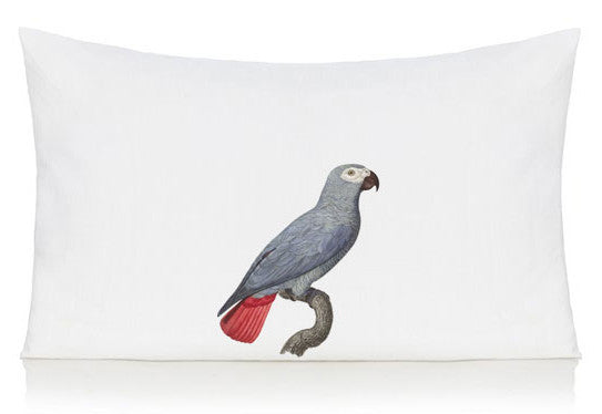 Blue parrot pillow case