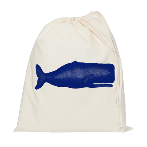 Blue whale drawstring bag