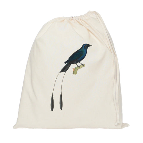 Blue bird drawstring bag