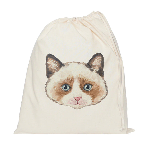 Brown cat drawstring bag