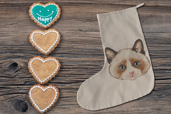 Brown cat Christmas stocking