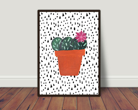 Pink flower cactus print/ wall art