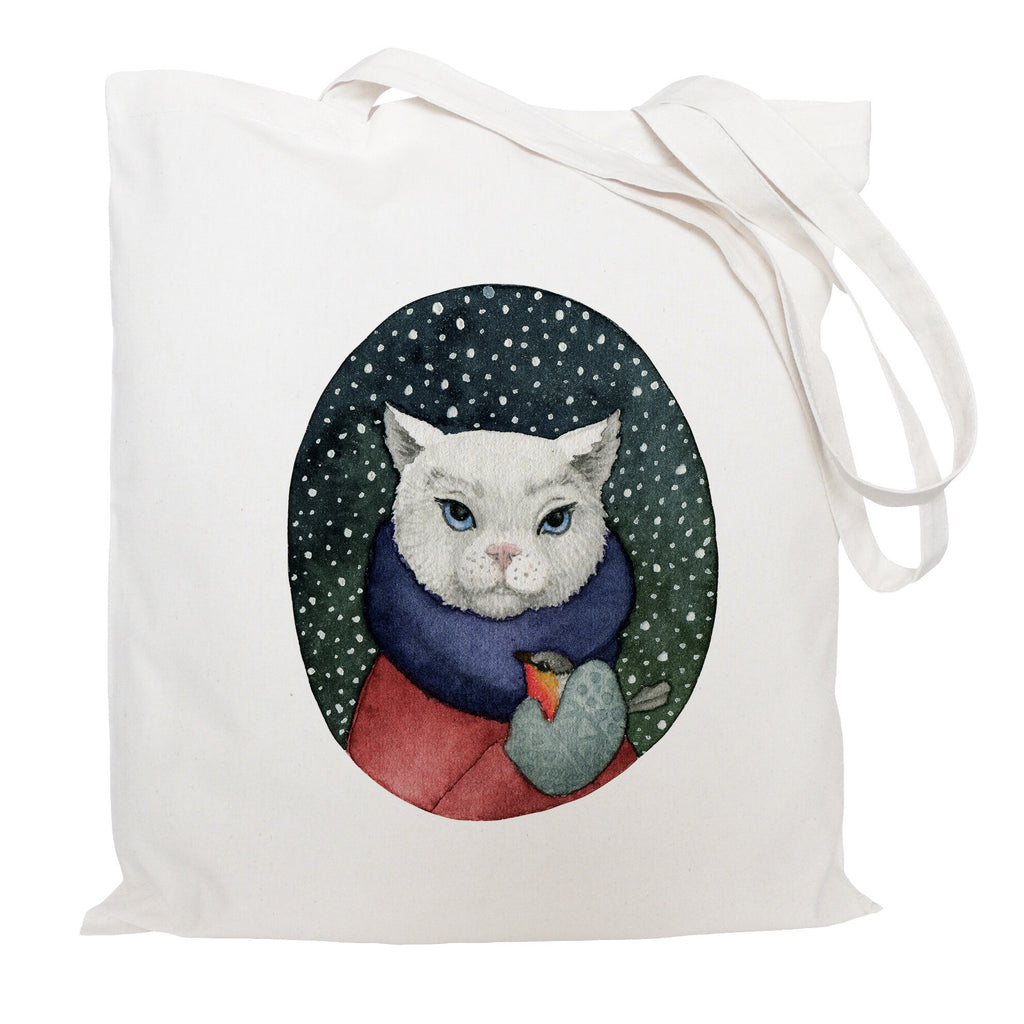 Cat and bird tote bag