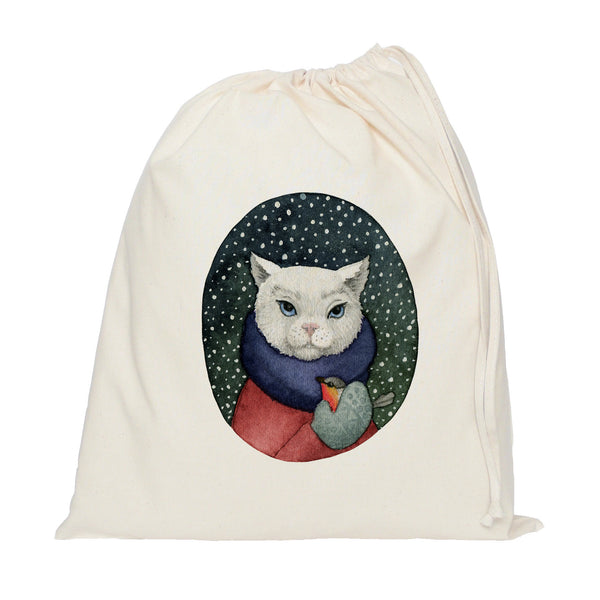 Cat with bird drawstring bag