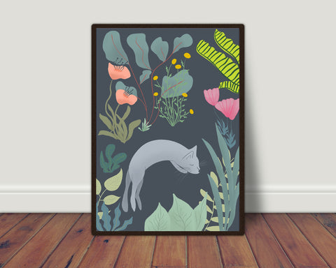 Cat in garden print/ wall art
