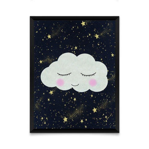 Cloud face with shooting stars print/ wall art