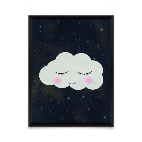 Cloud face on starry night print/ wall art