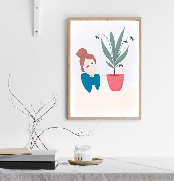Cat plant print/ wall art