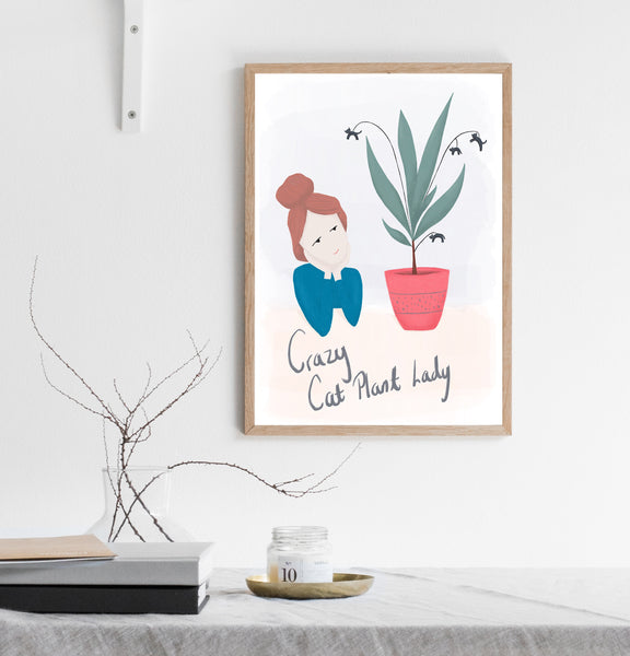 Crazy cat plant lady print/ wall art