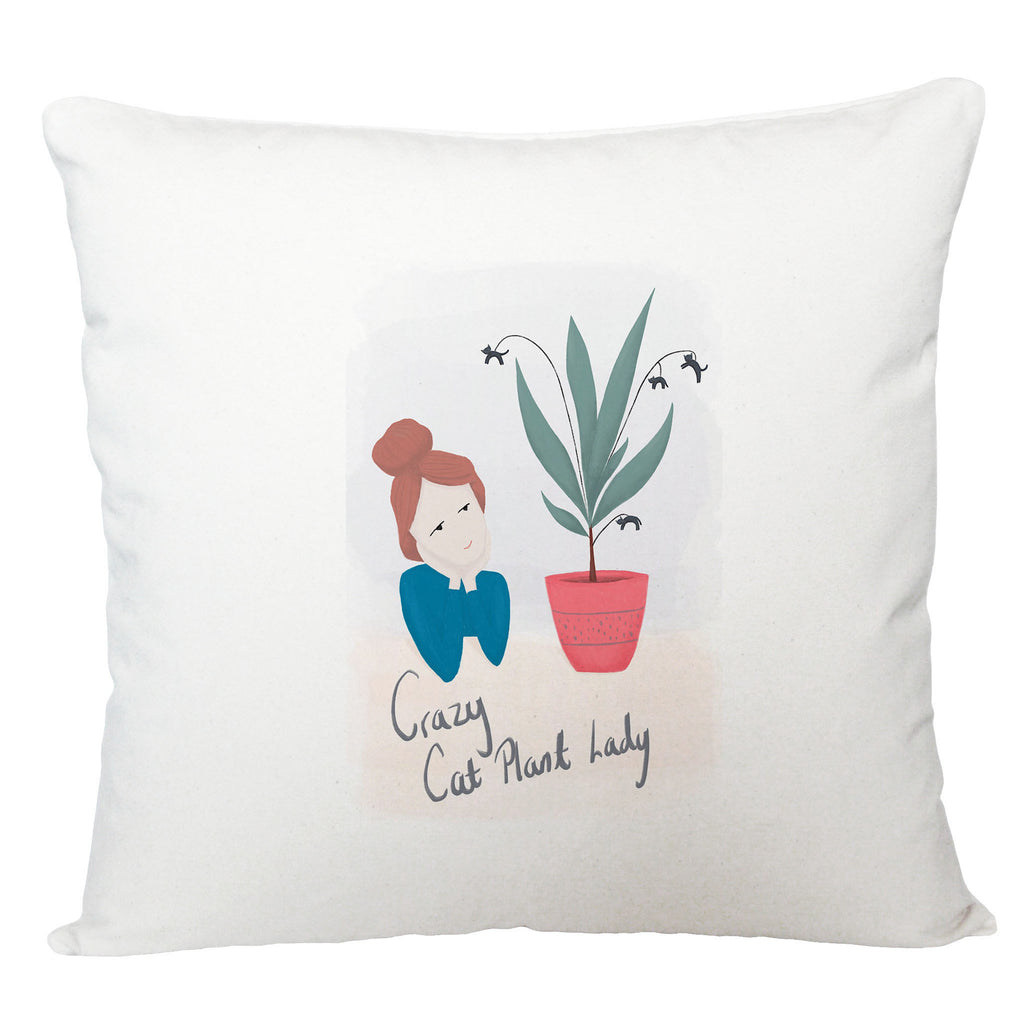 Crazy cat plant lady cushion cover