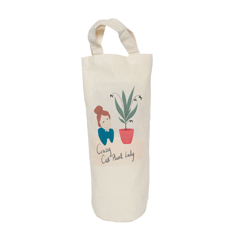 Crazy cat plant lady bottle bag